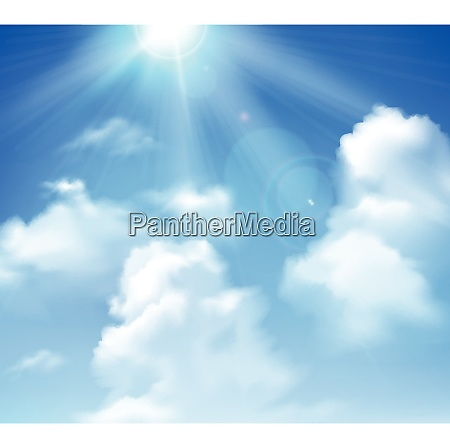 sun shining in blue sky with