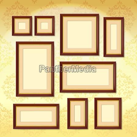 realistic dark wood picture frames set