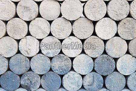 cylinder shape concrete bricks storage for