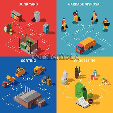 recycling isometric concept garbage icons set