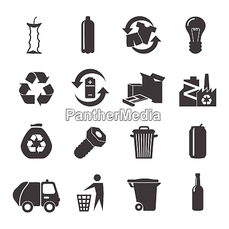 recyclable materials black white icons set