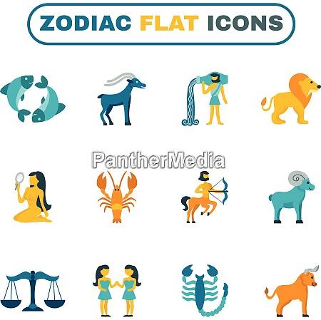 zodiac constellation and astrology symbols icon