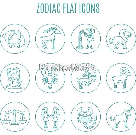 zodiac icon line set with esoteric