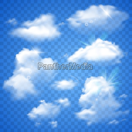 realistic clouds decorative icons set on