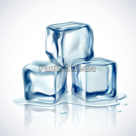 realistic blue ice cubes with water