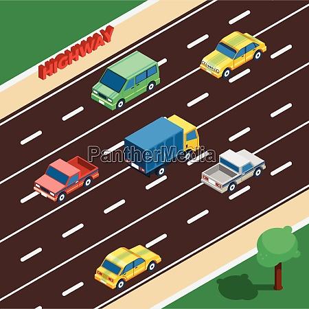 highway concept highway isometric illustration highway