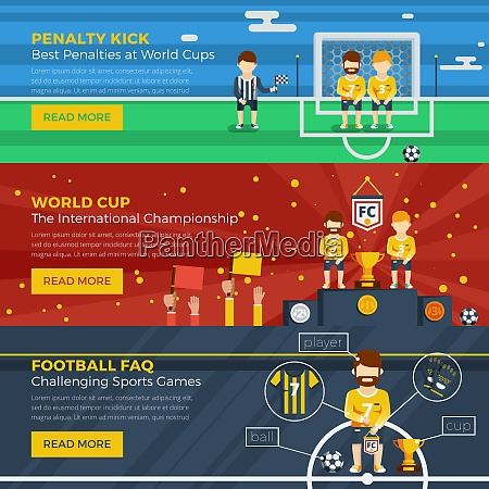 football horizontal banner set with different