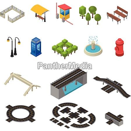 city isometric objects city icons set