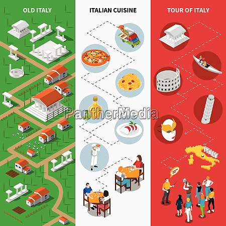 italy tourists attractions isometric pictorial guide