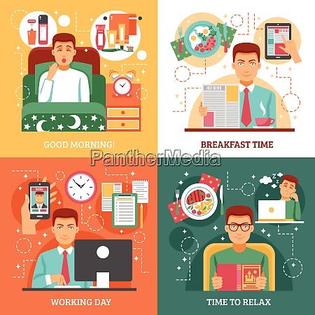 man daily routine design concept four