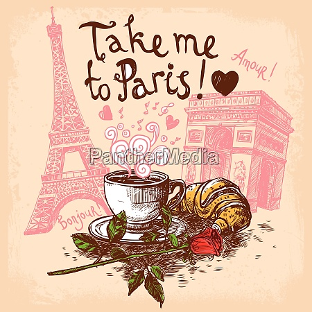 take me to paris hand drawn