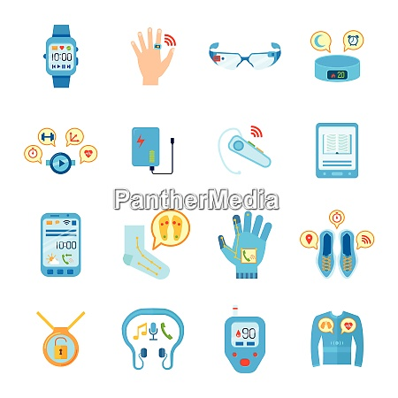 smart things icons set wearable technology