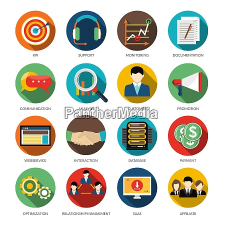 crm round icons set with monitoring
