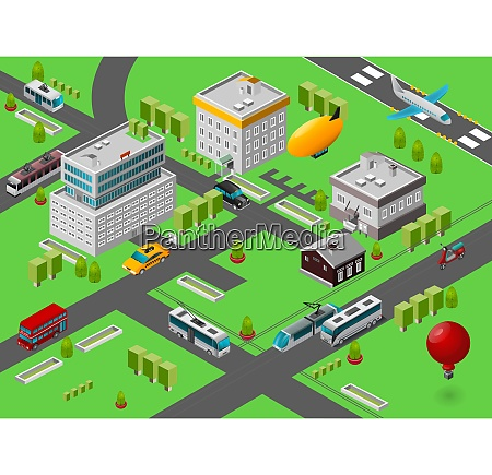 isometric city street view with public