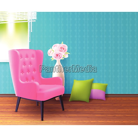 cute pink realistic soft chair interior