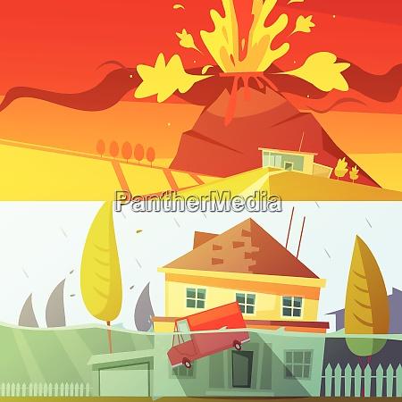color cartoon horizontal banners depicting natural