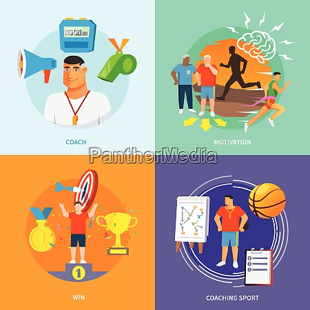 coaching sport design concept set with