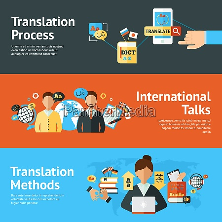 language translator horizontal banner set with