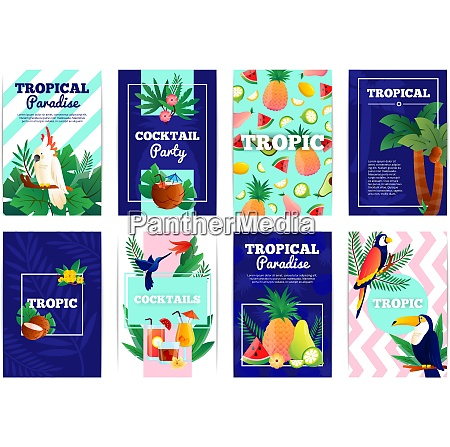tropical banners cards set with cocktail