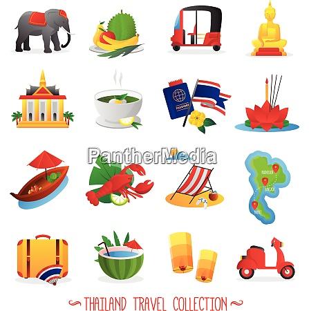 thailand travel symbols flat icons collection