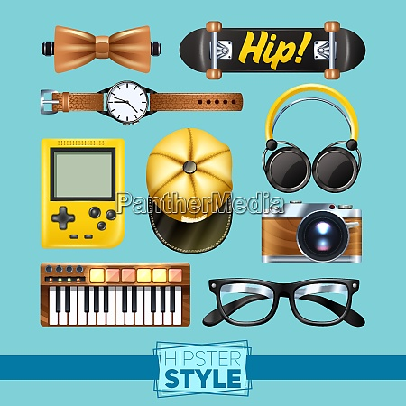 hipster elements set with glasses wrist
