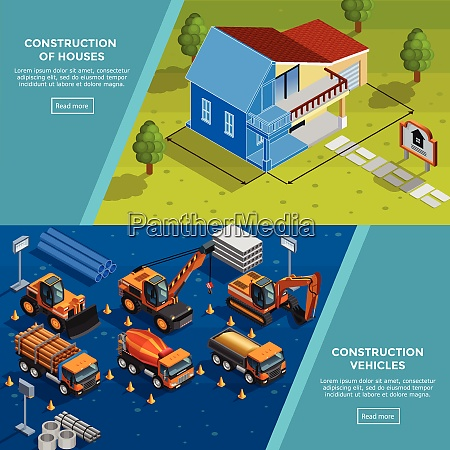 two construction isometric banners with layout