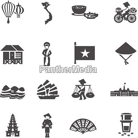 vietnamese culture black white icons set