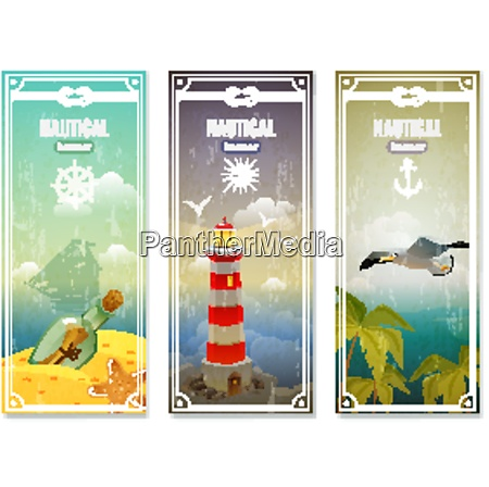 retro sea nautical vertical banners with