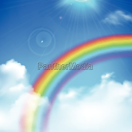 rainbow and sun rays realistic background