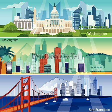 american cityscapes flat concept usa sights