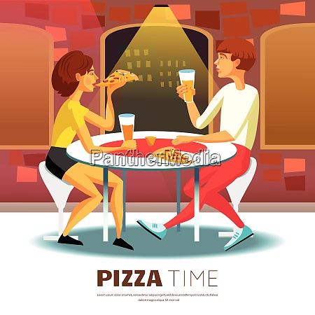 pizza time background eating out vector