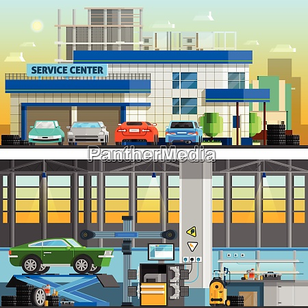 auto service flat horizontal banners with