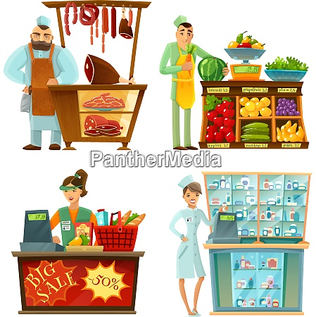 traditional counter service shops sellers at