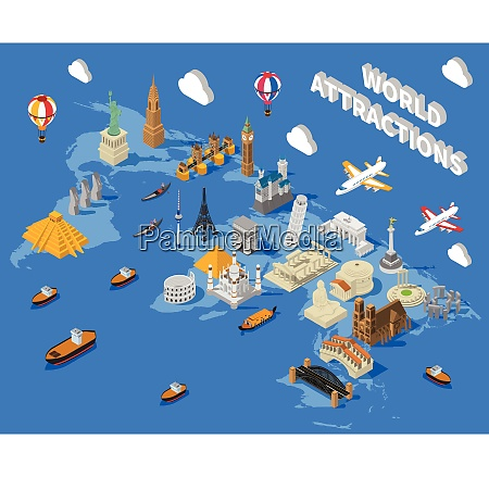 world famous touristic attractions isometric map