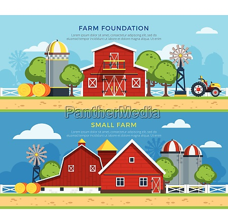 two farm flat horizontal banners with