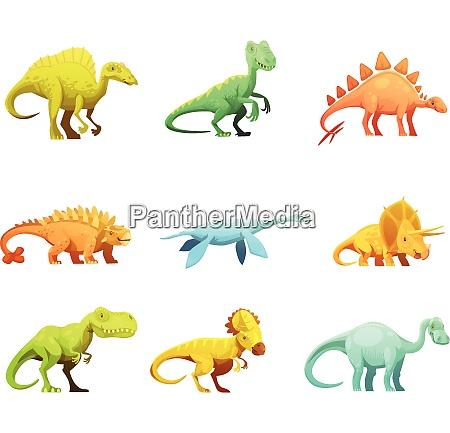 funny retro style dinosaurus cartoon characters
