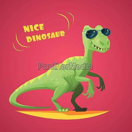 nice funny green dinosaurus in sunglasses