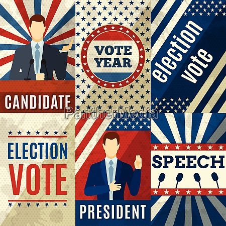 vintage politics mini posters set with