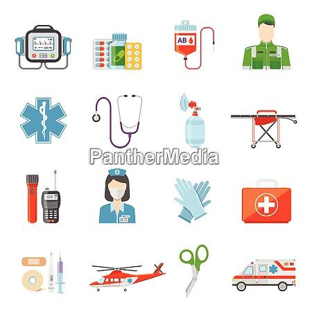 paramedic flat colored decorative icons set