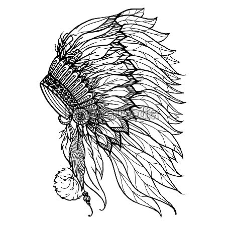 doodle headdress for native american indian