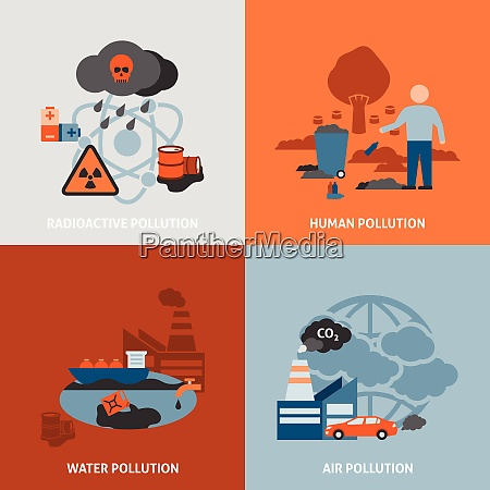 environmental problems icons set with radioactive