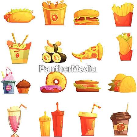 fast food retro cartoon icons collection