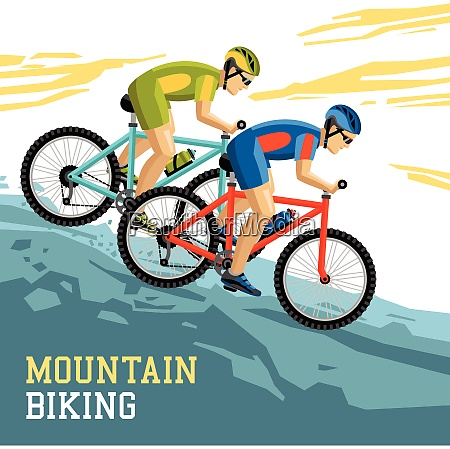 mountain biking vector illustration with two