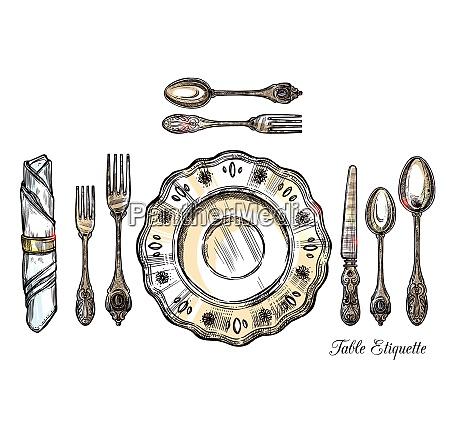 table etiquette hand drawn vector illustration