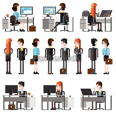 office people flat cartoon icons set