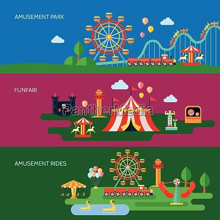 amusement park horizontal banners set with