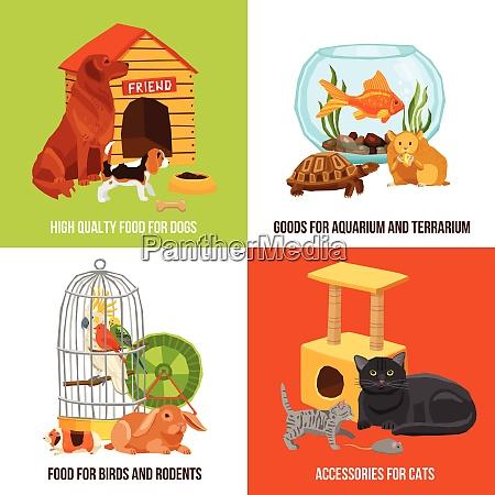 home pets 2x2 design concept set