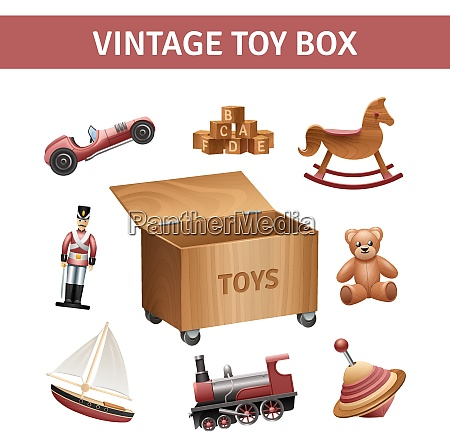 vintage toy box set with rocking