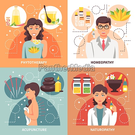 alternative medicine 2x2 concept set of