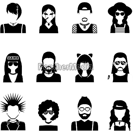 different subcultures people silhouettes black and